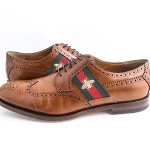 Gucci Brown Leather Lace-Up with Bee Web